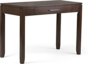SIMPLIHOME Cosmopolitan SOLID WOOD Contemporary Modern 42 inch Wide Home Office Desk, Writing Table, Workstation, Study Table Furniture in Russet Brown