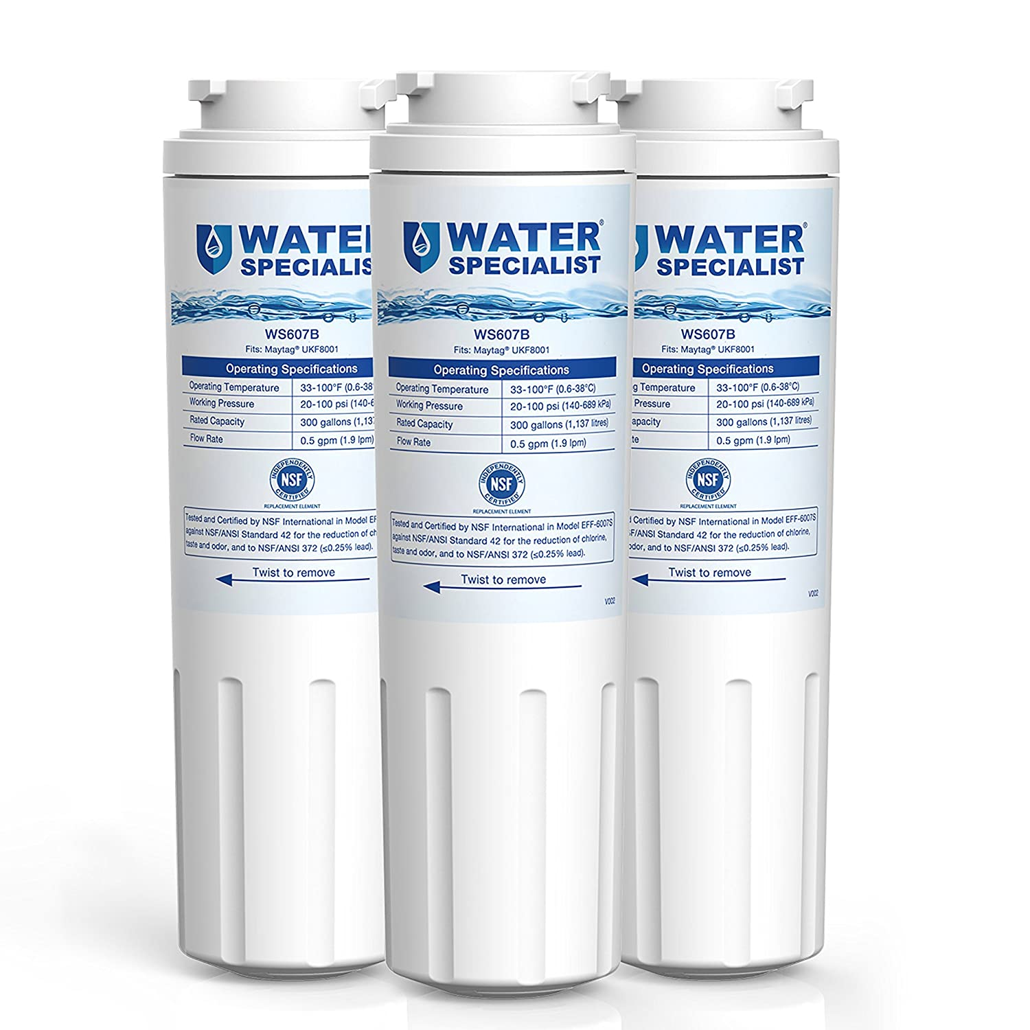 Waterspecialist UKF8001 Refrigerator Water Filter, Replacement for Maytag, PUR, Jenn-Air, Filter 4, 4396395, UKF8001AXX, UKF8001AXX-200, UKF8001AXX-750 (Pack of 3)
