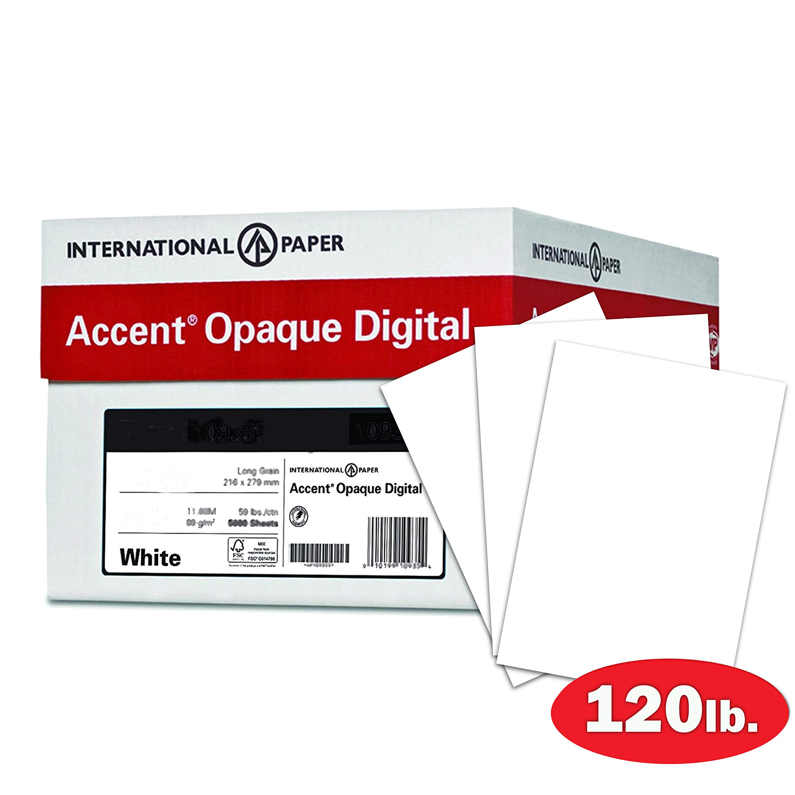 Accent Opaque Thick Cardstock Paper, White Paper, 120lb Cover, 325 gsm, 18x12 Paper, 97 Bright, 4 Ream Case / 600 Sheets, Smooth, Heavy Card Stock (189030C)