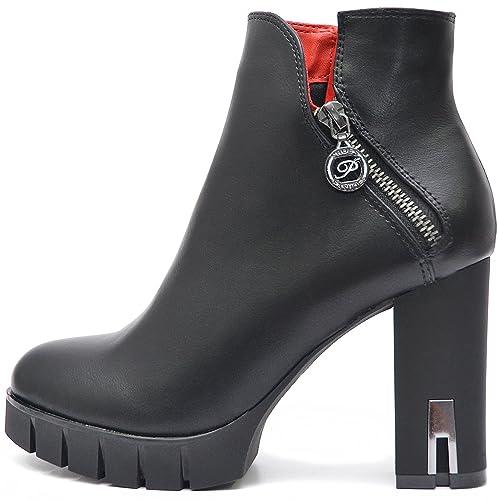 huge selection of 6fc91 29179 Plateau Damen Schuhe Schwarze Blockabsatz High Heels Ankle Boots  Stiefeletten Kurz Stiefel mit Reißverschluss