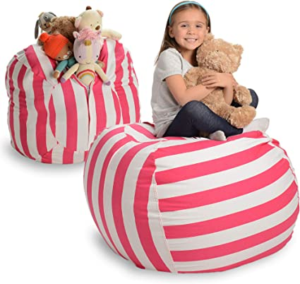"Creative QT Stuffed Animal Storage Bean Bag Chair - Extra Large Stuff 'n Sit Organization for Kids Toy Storage - Available in a Variety of Sizes and Colors (38"", Pink Stripe)"