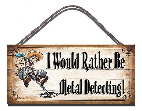 Carcasa de madera con texto en inglés con texto en inglés preferiría estar Metal detector de