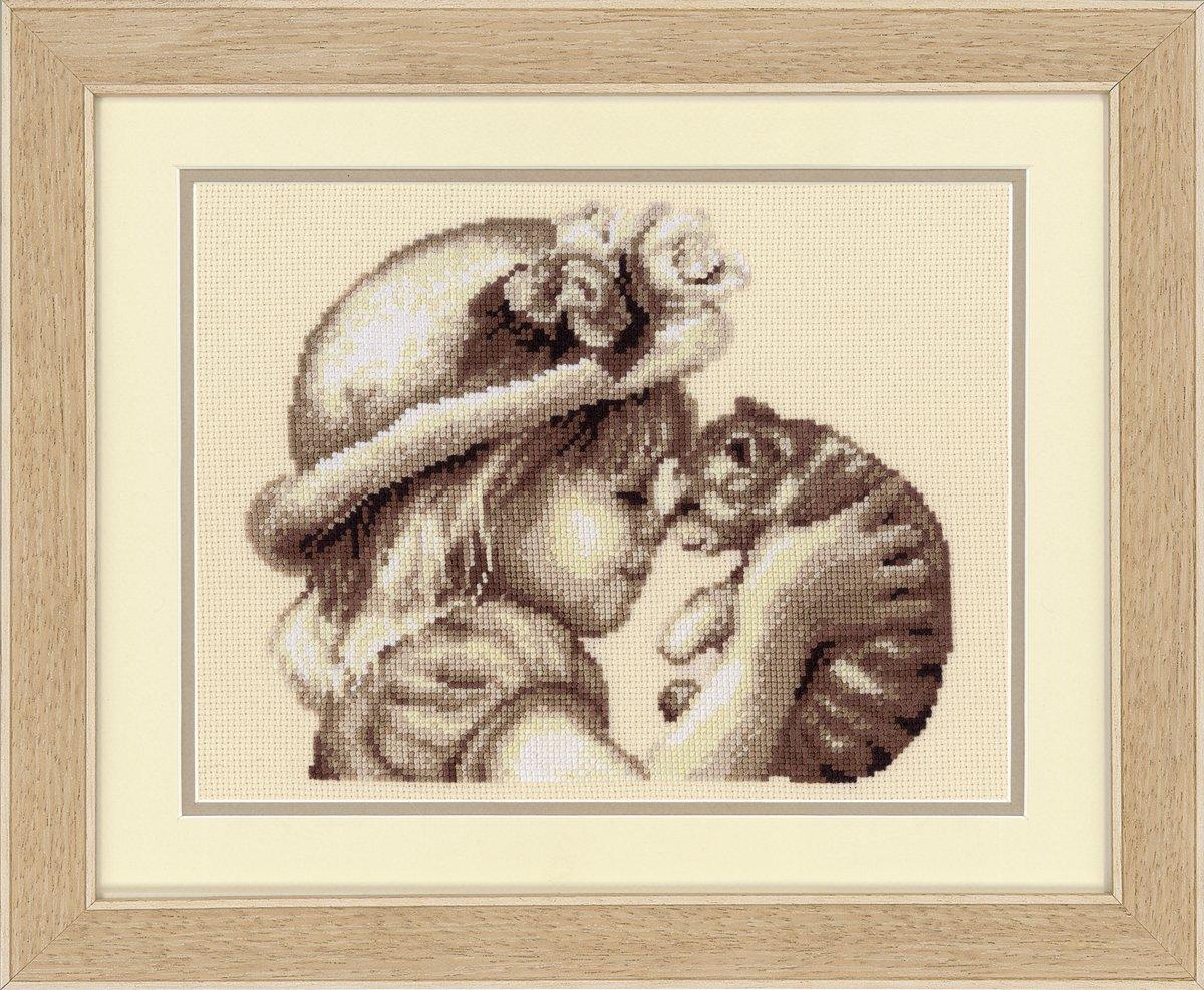 dise/ño de ni/ña con gato Vervaco Kit para cuadro de punto de cruz