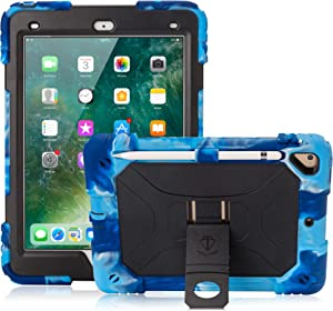 iPad 9.7 Case 2017/2018, iPad 6th/5th Generation Case iPad Air 2 Case for Kids Double-Layer Heavy Duty Cover with Apple Pencil Holder & Kickstand for iPad Pro 9.7 (Navy/Black)