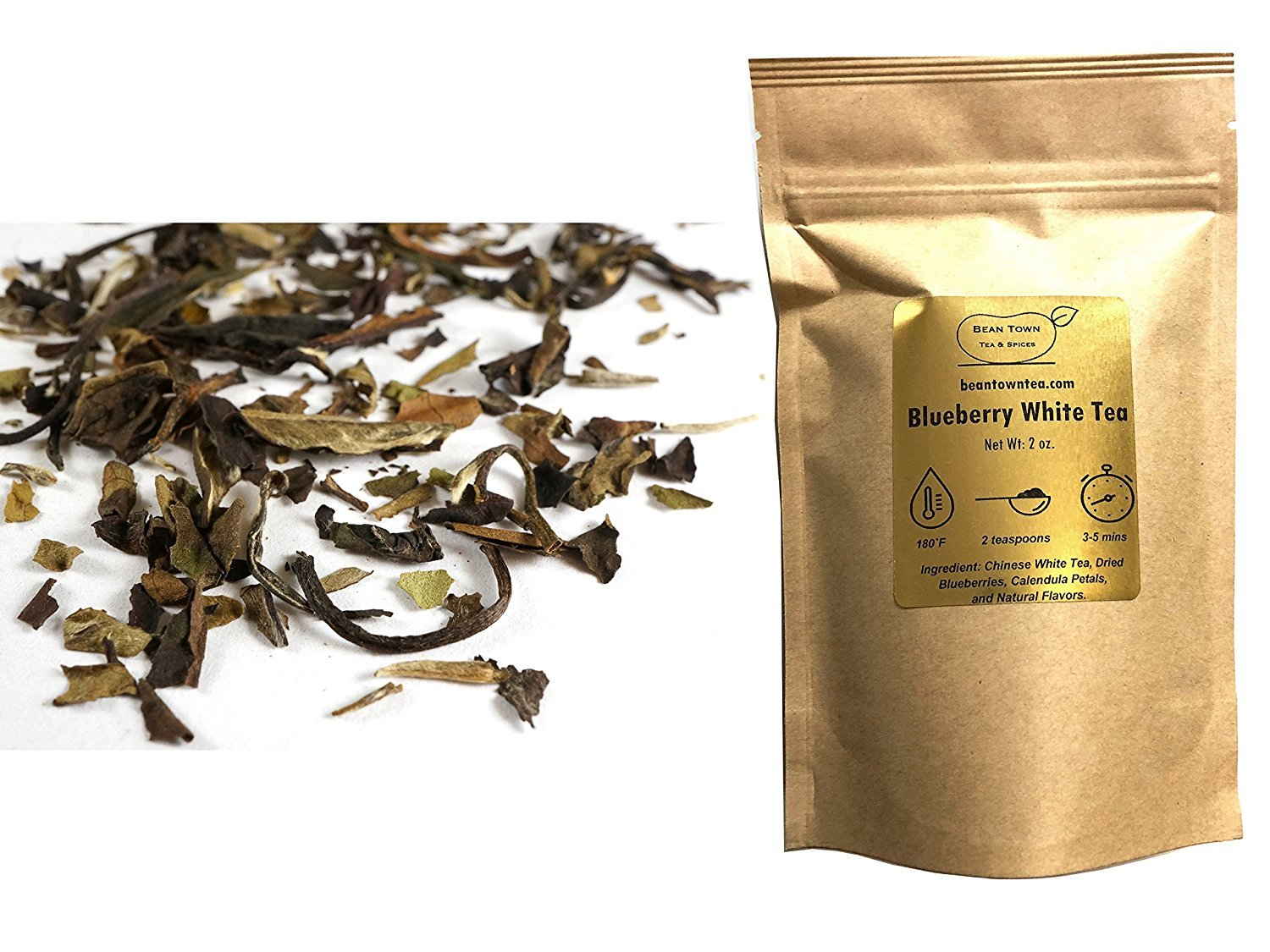 Beantown Tea & Spices - Blueberry White Tea. Gourmet Loose Leaf White Tea. Rich in Antioxidants. 100% Natural. (4 oz. (50 Servings)) by Beantown Tea & Spices