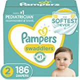 Pampers Swaddlers Disposable Diapers Size 2, 186 Count, ONE MONTH SUPPLY (Packaging and Prints May Vary)