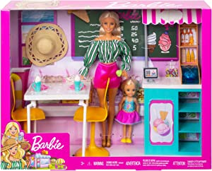 ​Barbie Ice Cream Cafe Playset with Barbie Doll and Chelsea Doll, Store Frame, Table, 2 Chairs and Food Accessories for Kids 3 to 7 Years Old