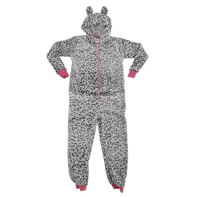 b01cb26708 Pijama entero   mono de polar suave con estampado de leopardo y detalle de  orejas para