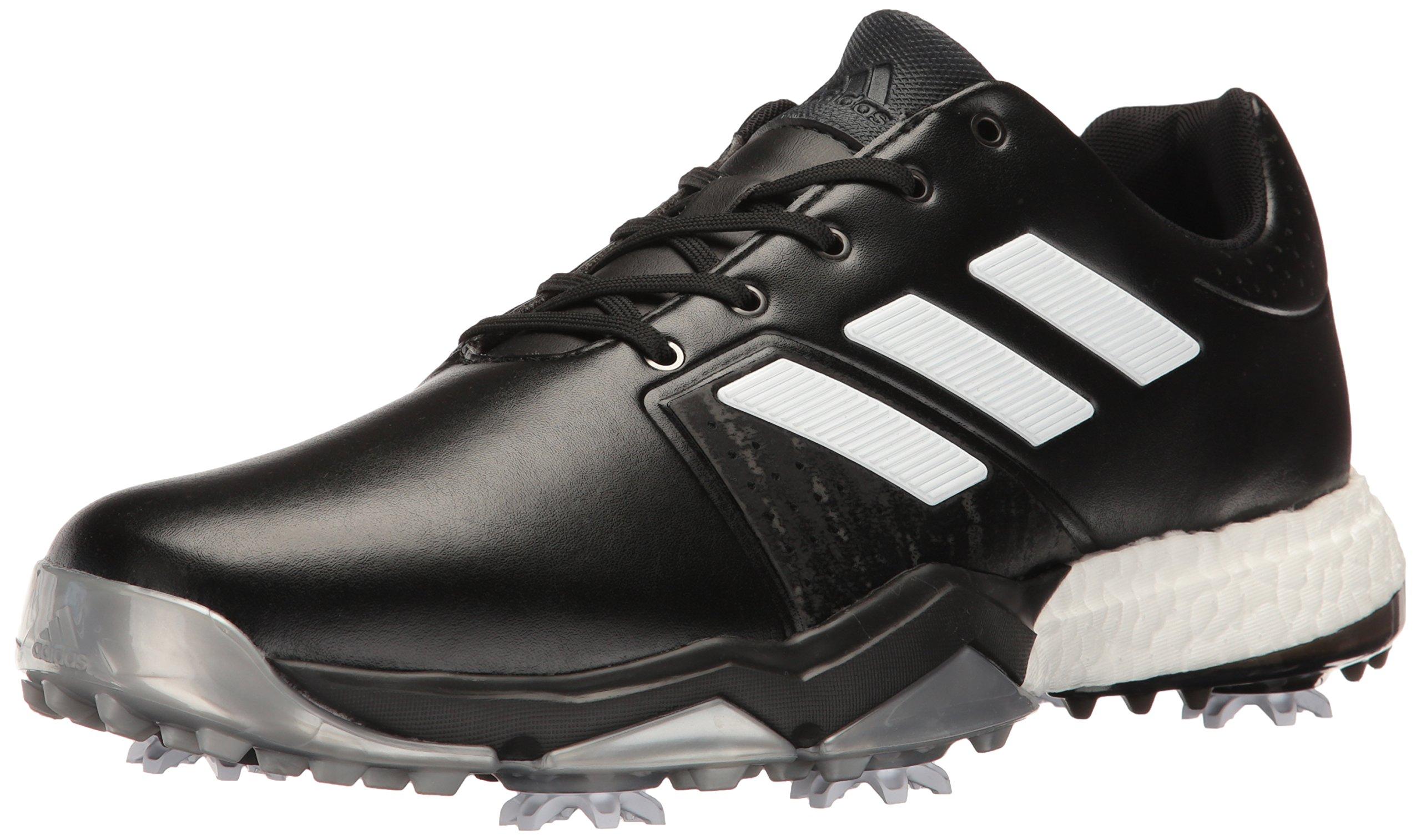 adidas Men's Adipower Boost 3 Golf Shoe, Black/White/Silver Metallic, 7.5 M US
