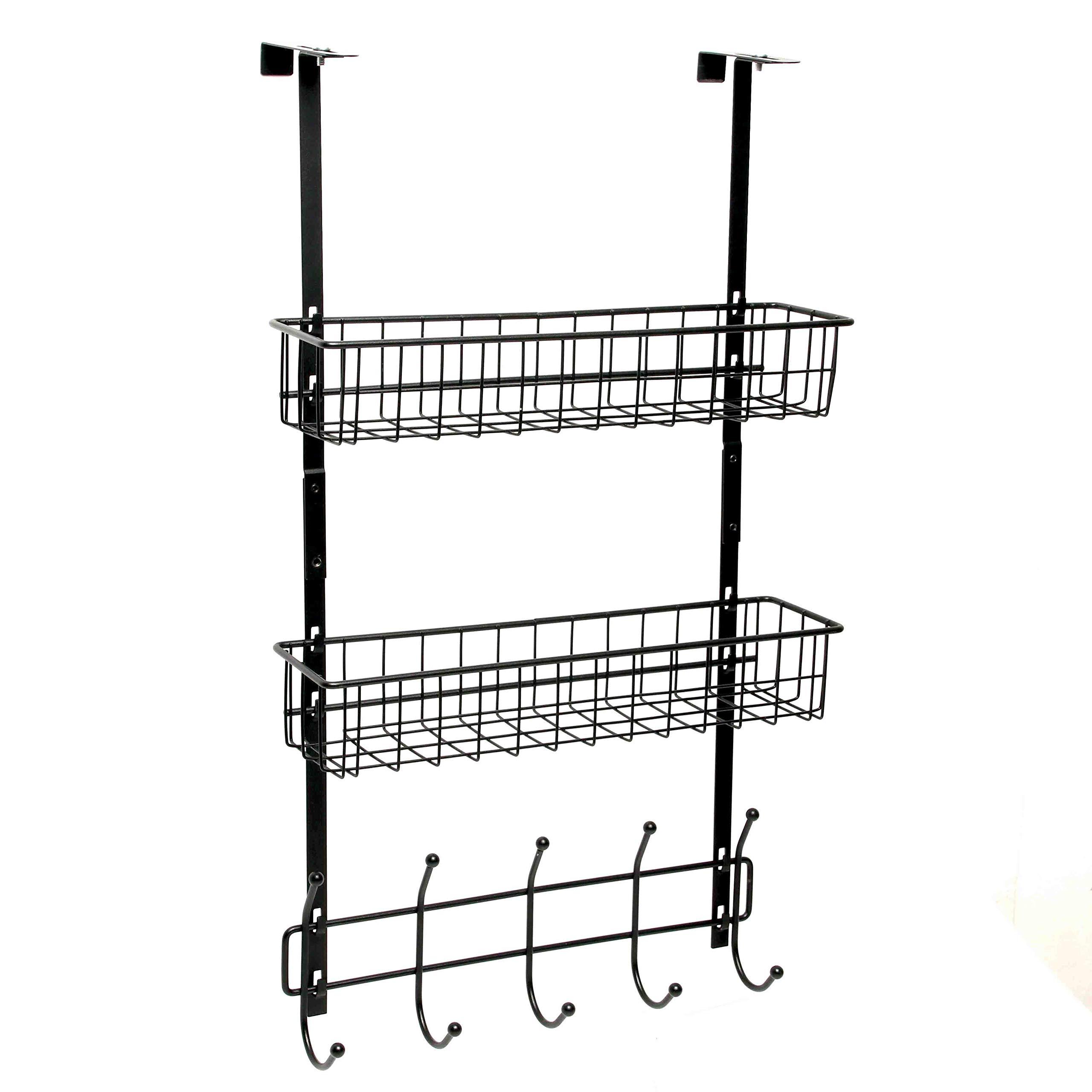 Wittywares Over The Door Hook Hanger Three Tiers with 10 Hooks and Mesh Basket Adjustable Storage Rack Wall Hook for Coats Hats Robes Towels
