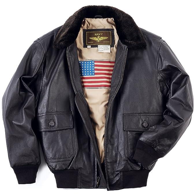 Landing Leathers Men's Navy G-1 Leather Flight Bomber Jacket at ...