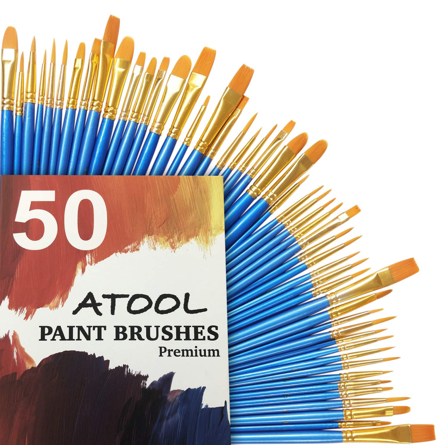 Acrylic Paint Brush Set, 5 Packs / 50 pcs Nylon Hair Brushes for All Purpose Oil Watercolor Painting Artist Professional Kits by ATool