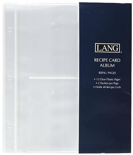 amazon com lang 2 pocket recipe card album refill pages recipe