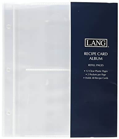 lang 2 pocket recipe card album refill pages recipe