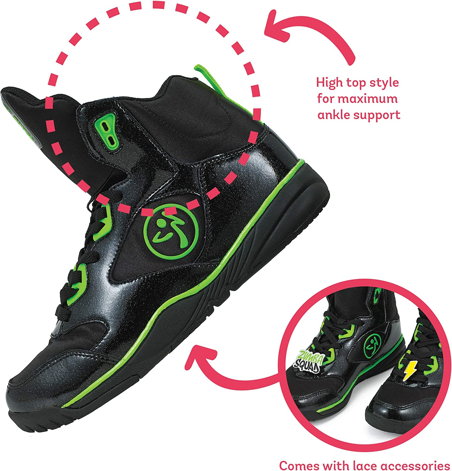 Zumba Energy Boom High Top Athletic Shoes Dance Training Workout Women Shoes Black 5XK6P1
