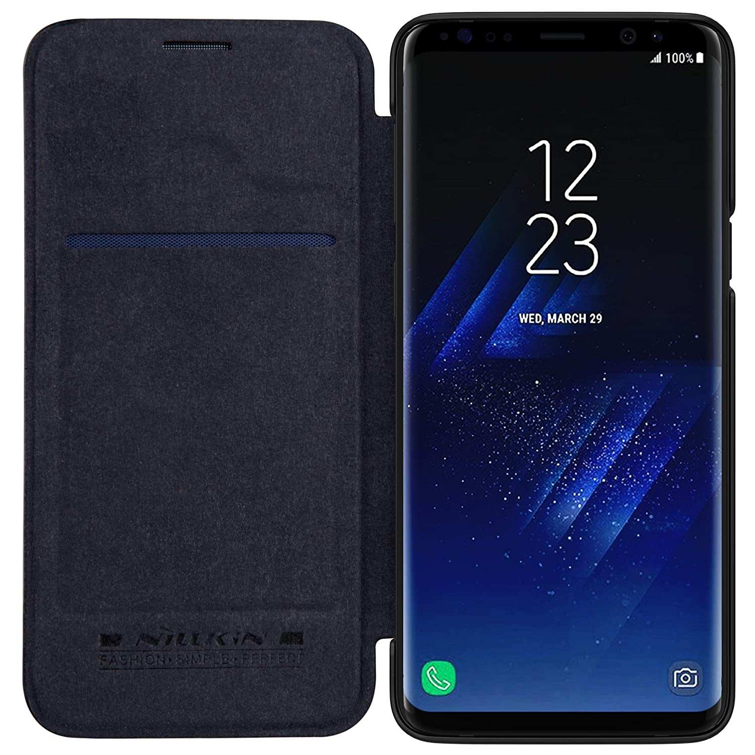 new concept 1391a 2a1fc Nillkin Qin Series Royal Leather Flip Cover for Samsung Galaxy S9  Plus(Black)