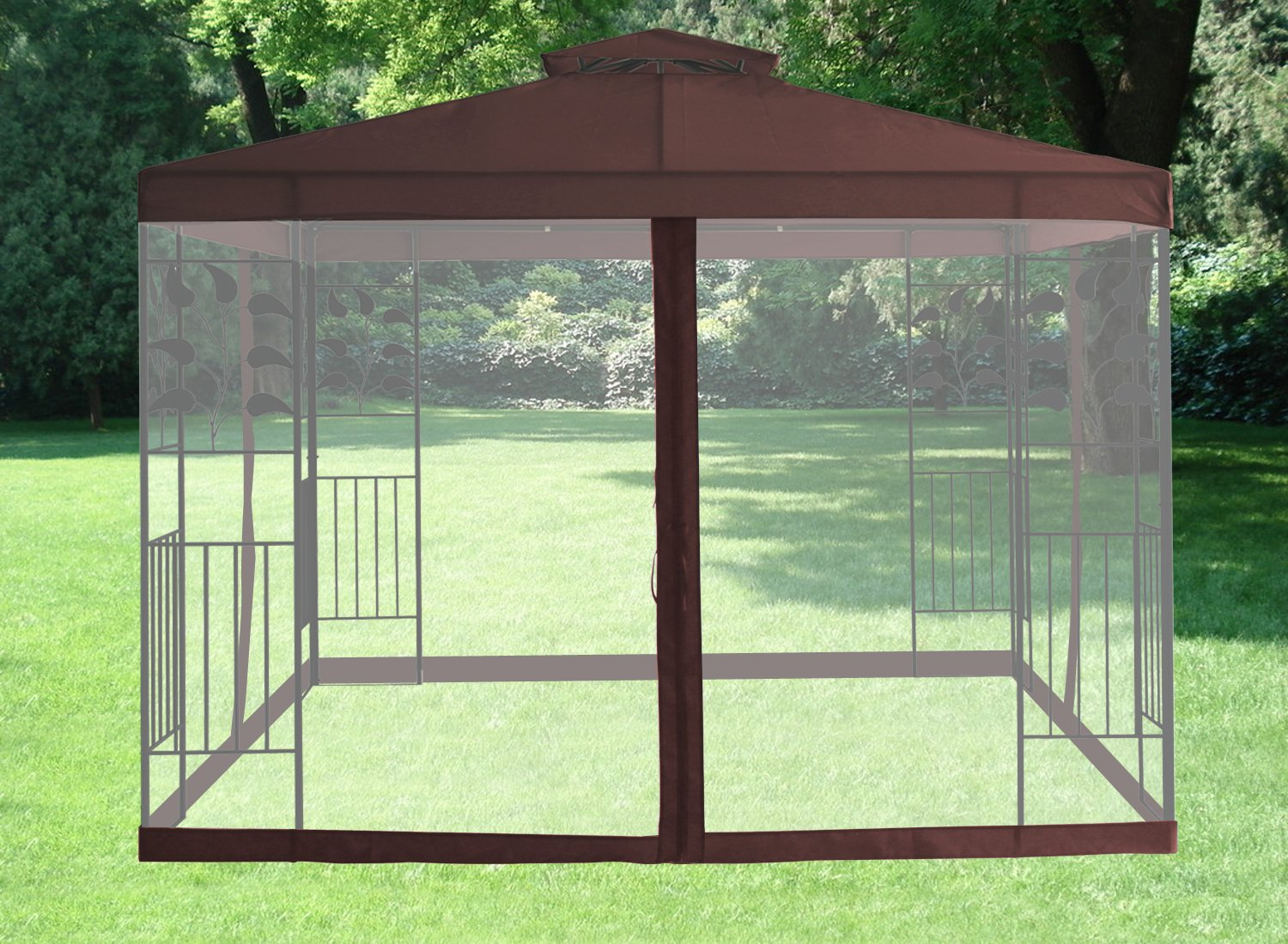 Greenbay Pavilion Gazebo Side Net Marquee Fly Screen Gathering Mosquito Netting Washable Removable CoffeeSide Only Amazoncouk Garden Outdoors