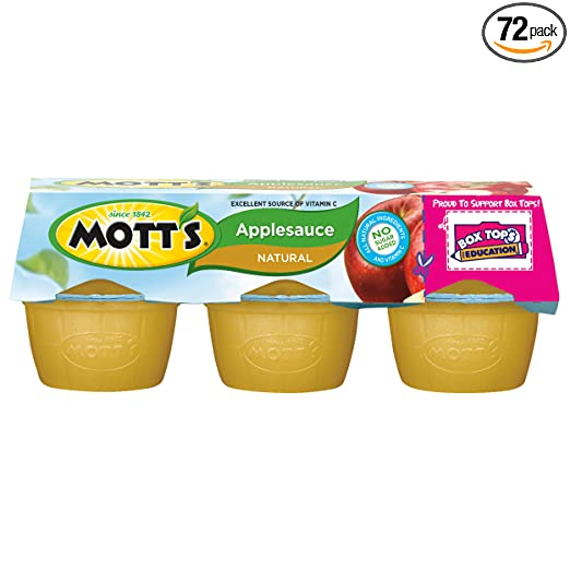 Mott's Natural Applesauce, 3.9 oz cups (Pack of 72)