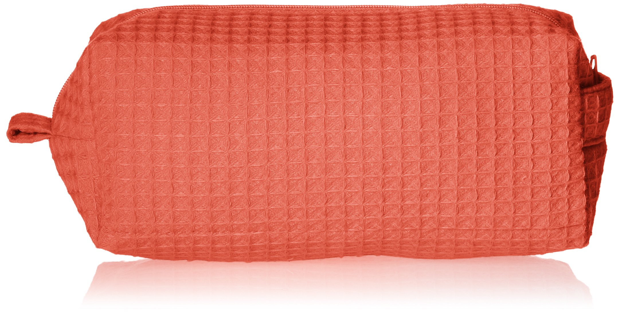Terry Town CBW003-Coral-1 Waffle Cosmetic Bag, Coral