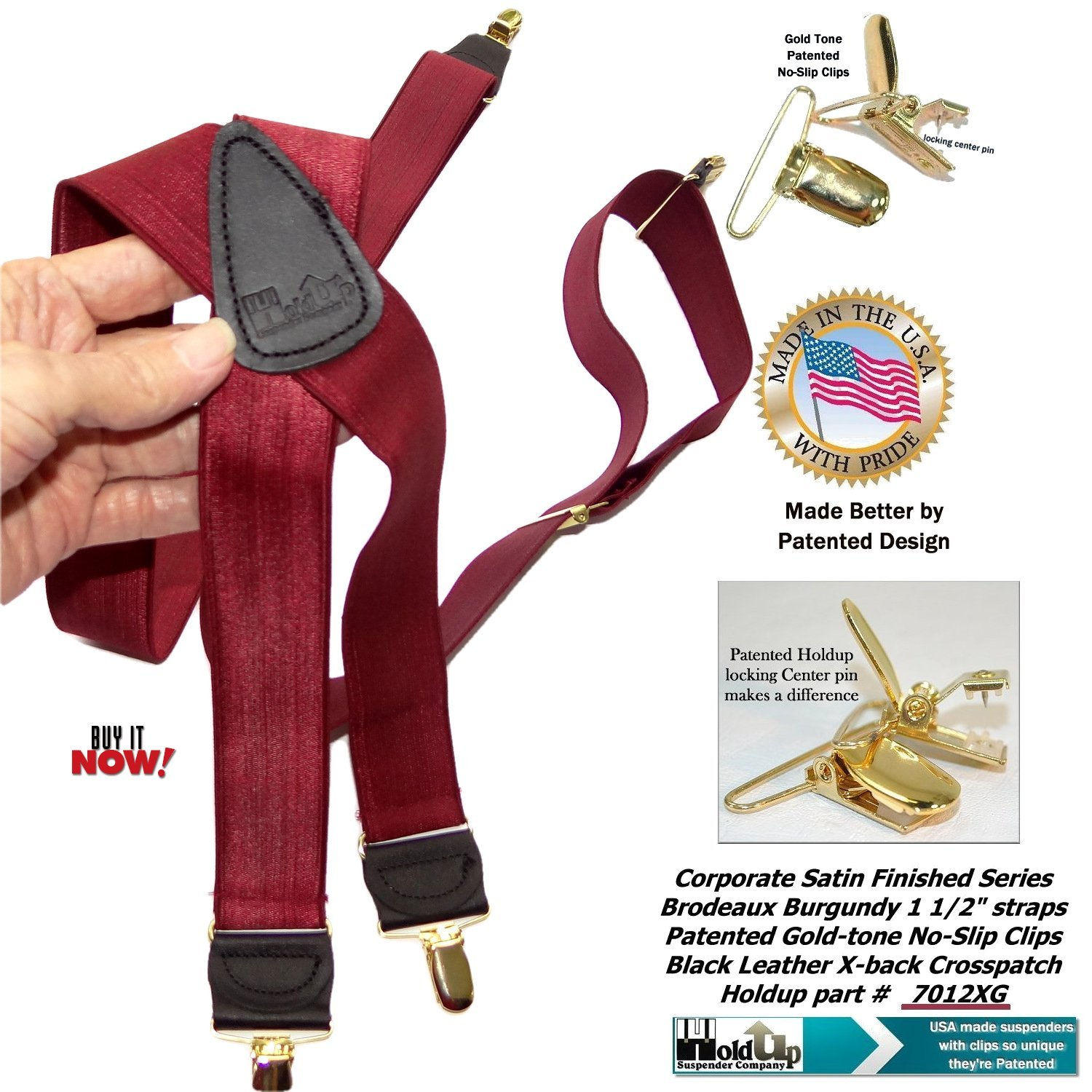 Holdup Suspenders in Bordeaux Burgundy 1 1//2 wide Satin Finish in X-Back with Patented No-slip Gold-tone Clips
