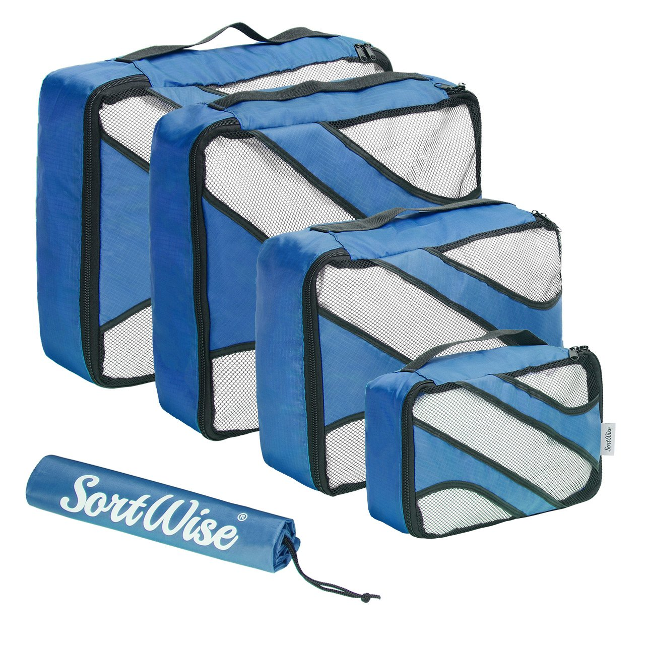 SortWise ® 4 Set Packing Cubes,Travel Luggage Packing Organizers, Packing Cubes Value Set, Lightweight (Blue)