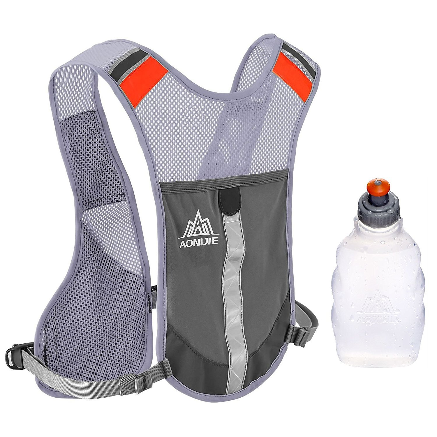 Premium Reflective Vest Give Sport Water Bottle as Gift for Running Cycling Clothes for Women Men Safety Gear with Pocket 3M Scotchlite with Reflective High Visibility for (Grey)