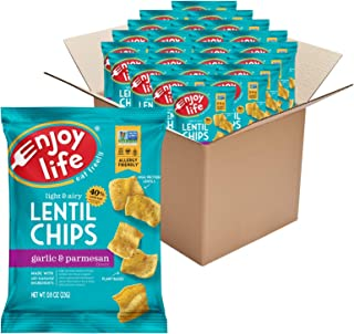 product image for Enjoy Life Garlic and Parmesan Lentil Chips, Dairy Free Chips, Soy Free, Nut Free, Non GMO, Vegan, Gluten Free, 24 - 0.8 oz Bags