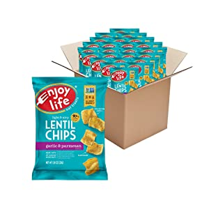 Enjoy Life Garlic and Parmesan Lentil Chips, Dairy Free Chips, Soy Free, Nut Free, Non GMO, Vegan, Gluten Free, 24 - 0.8 oz Bags
