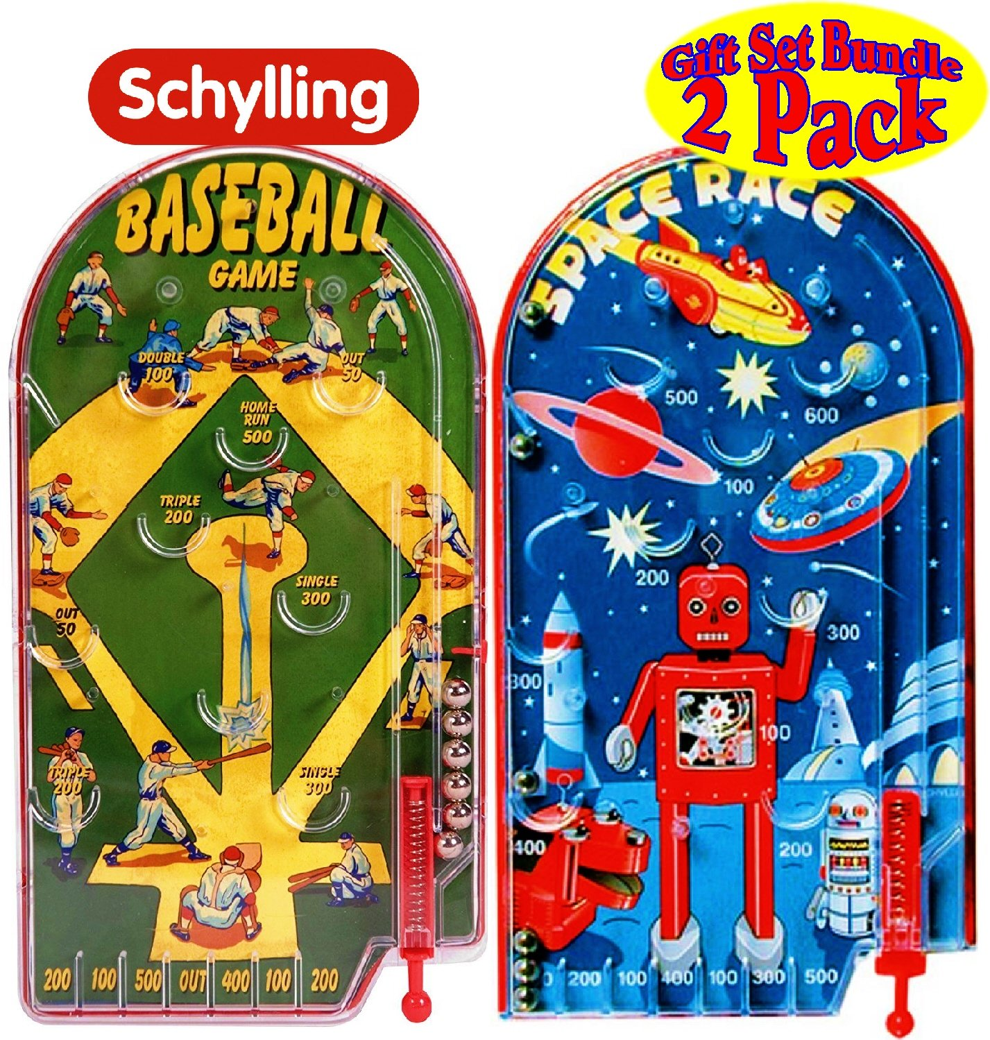 Schylling Classic 10'' Pinball Games Space Race & Home Run! Baseball Gift Set Bundle - 2 Pack