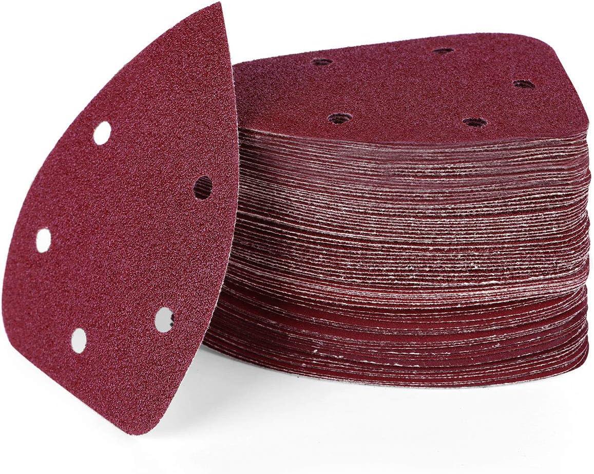 5 Trous Granulom/étrie 40//60//80//120//180//240//320//400 Papier de Verre avec Velcro Auto-Adh/ésif 140x90mm Pour Ponceuses delta et Multi-ponceuses HIRALIY 72pcs Triangles de Pon/çage