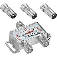 Poppstar Sat Verdeler Antenne Splitter Schakelaar 2-voudig Incl. IEC Connector (Analoog/Digitaal/BK/Unicable/HD/4k) voor…