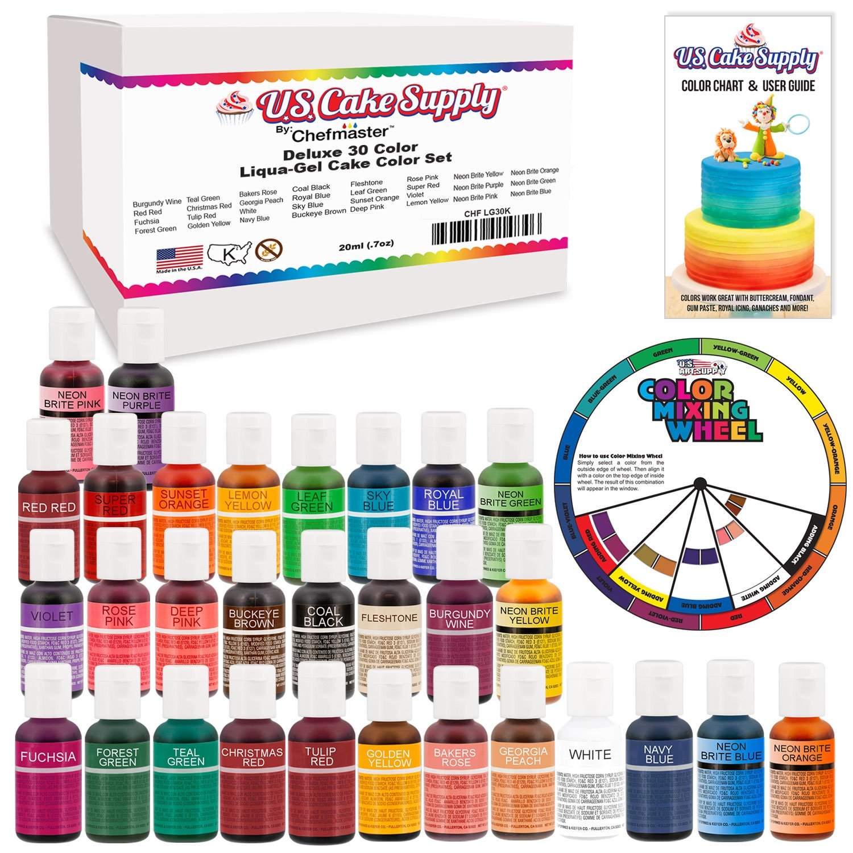 30 Color Cake Food Coloring Liqua-Gel Decorating Baking Ultimate Set ...