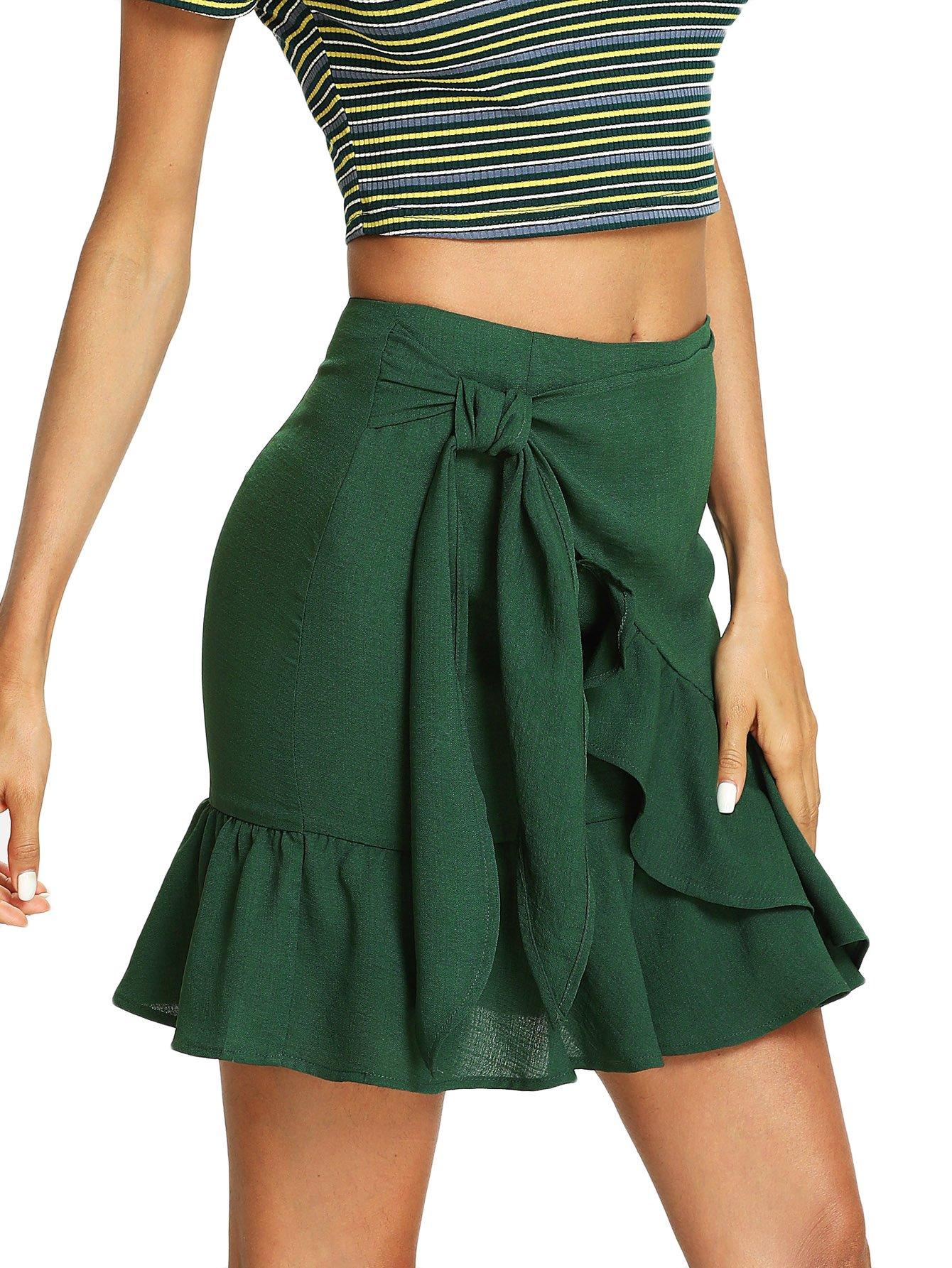 Romwe Women's Cute Knot Side Solid Ruffle Hem Mid Waist Summer Short Skirt Green L