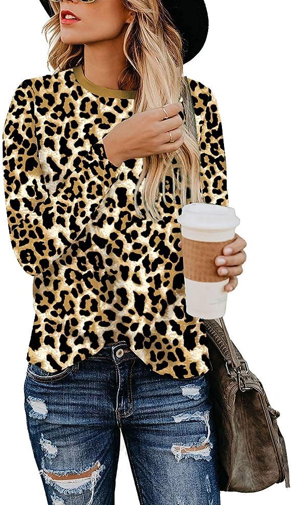 Womens T Shirt Leopard Print Tops Long Sleeve