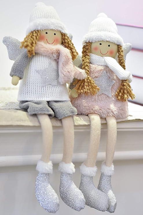 Valery Madelyn 18cm Stoff Weihnachten Deko Figur Funkelnder Winter