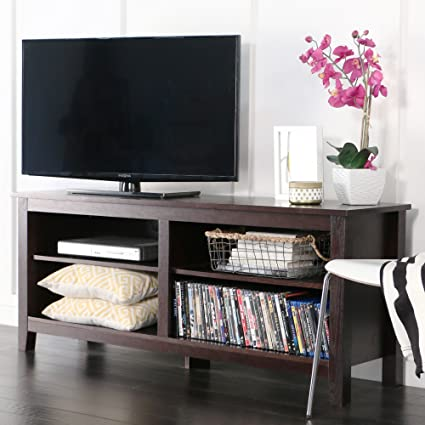WE Furniture 58u0026quot; Wood TV Stand Storage Console, Espresso