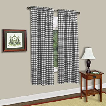 Sweet Home Collection Kitchen Window Curtain Treatment Panel 63 Black//White