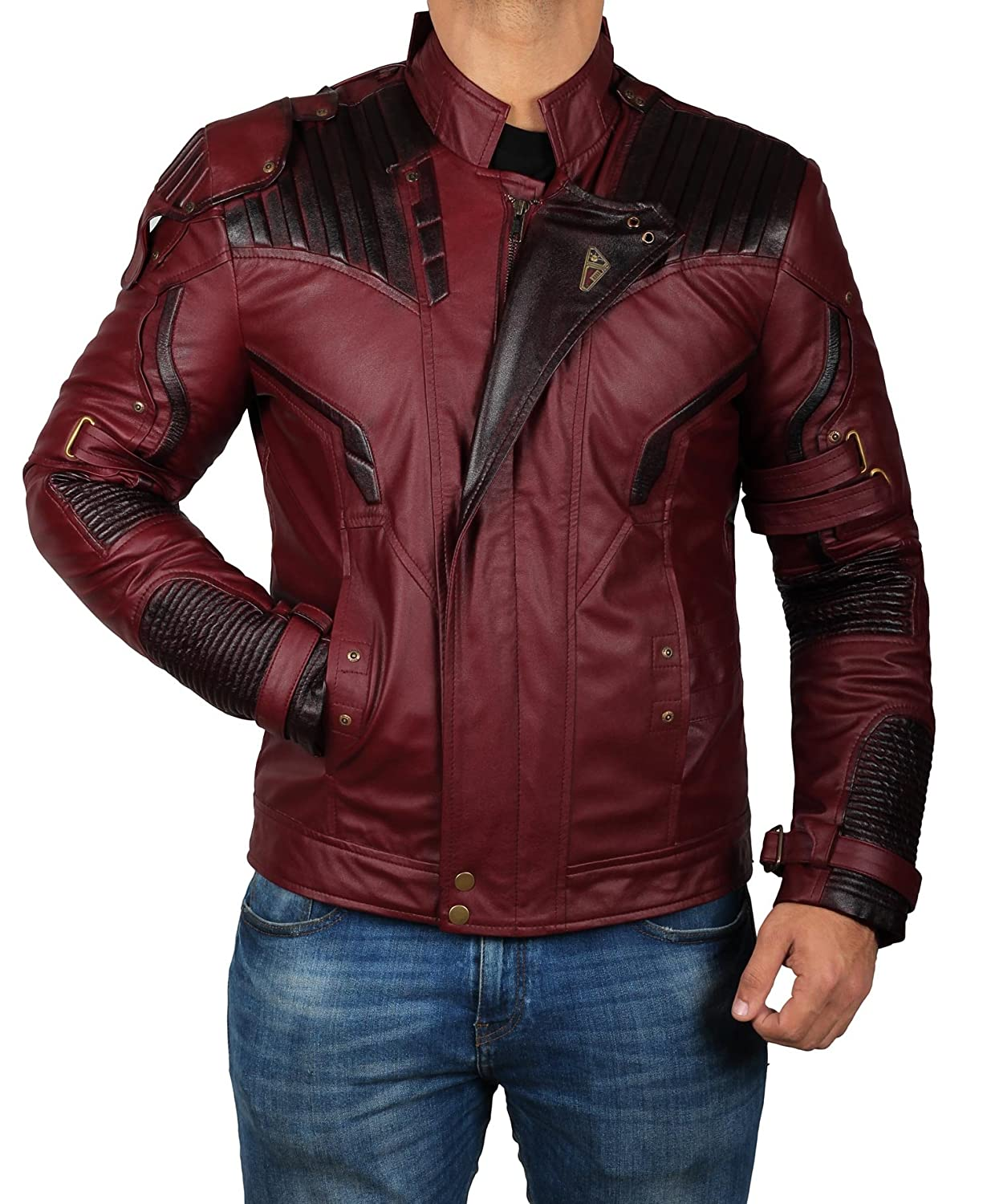 BlingSoul Maroon Leather Jacket Waxed - Halloween Costume Jacket for Mens BSO-Star-Lord-GOG-XS