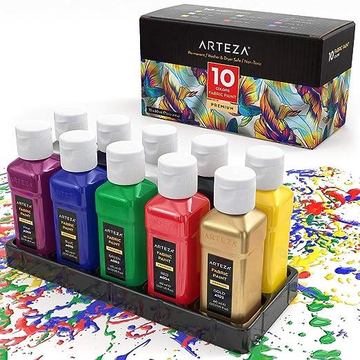 Arteza Pintura para tela | Juego de 10 frascos de 60 ml | Colores ...