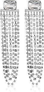 Steve Madden Women's Alloy Rhinestone Silver Drop and Dangle Earrings - SME502072RH