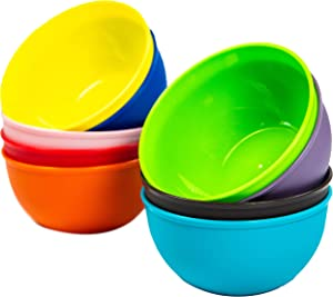 Youngever 10 Ounce Plastic Bowls, Kids Plastic Bowls, Set of 9 in 9 Assorted Colors, Non Toxic Kids Safe Toddler Bowls, Microwave Safe, Dishwasher Safe