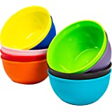 Youngever 10 Ounce Plastic Bowls, Kids Plastic Bowls, Non Toxic Kids Safe Toddler Bowls for Cereal and Soup, Microwave Safe, Dishwasher Safe, Set of 9 in 9 Assorted Colors