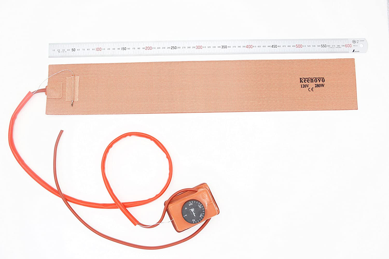 "Keenovo Ukulele Side Bending Silicone Heat Blanket w/Thermostat Controller ~200C (4"" x 24"" 280W 120V)"
