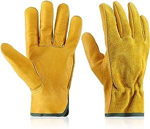 Garden Gloves Leather Gardening Gloves Thorn and Cutting Proof Work Garden Gloves Breathable Safety Working Garden Gloves for Women and Men Gardening, Trucking, Welding (Medium)