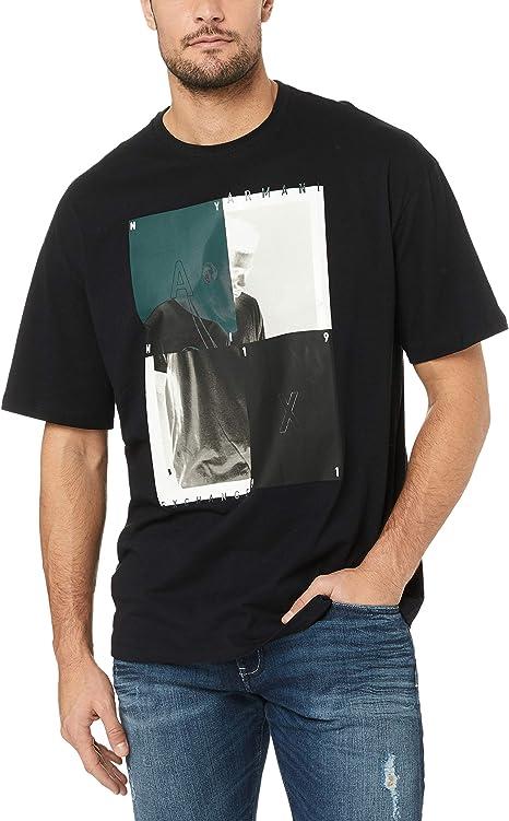eS Men Split Block Short Sleeve Tee Navy Shirts Size