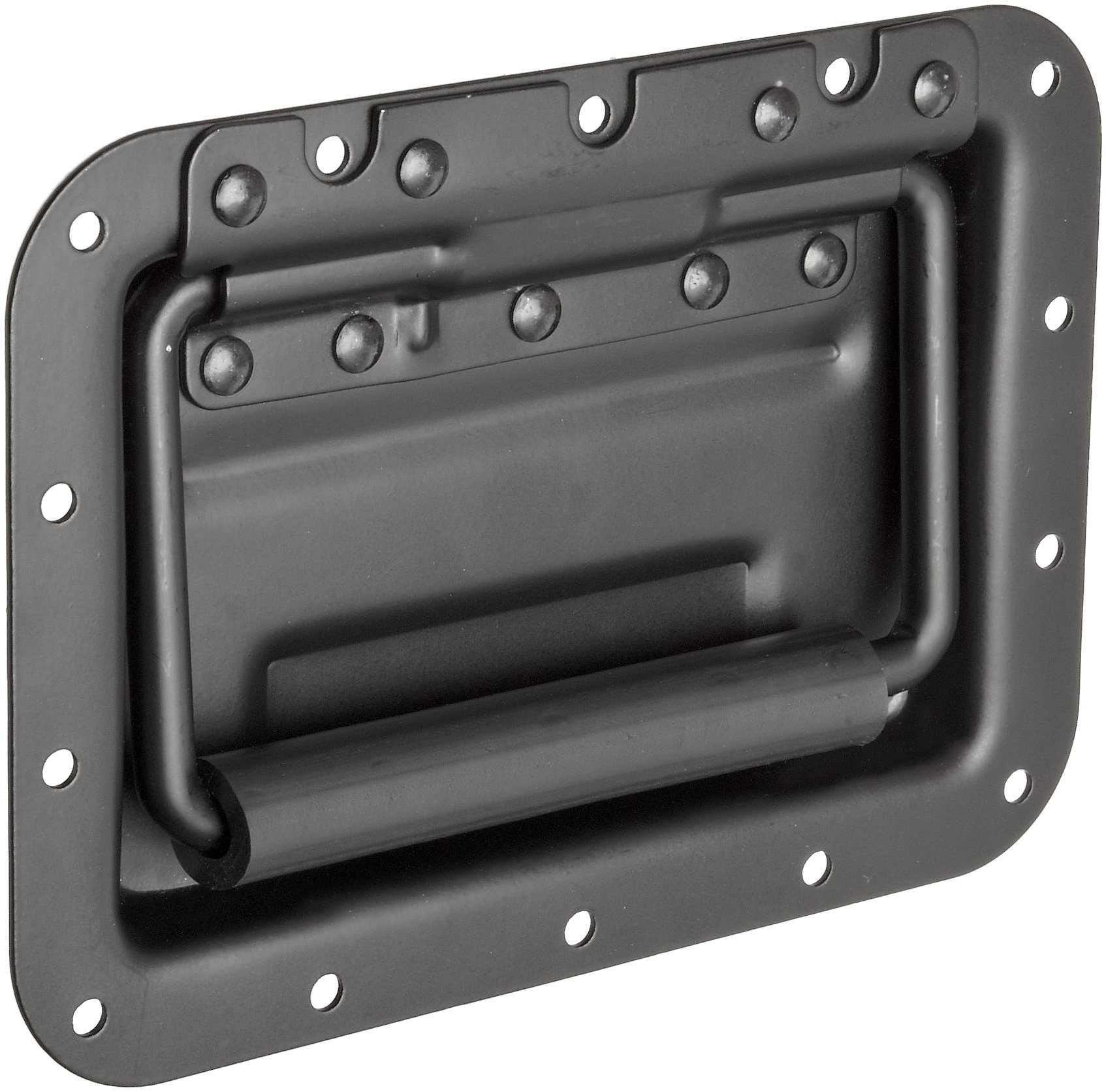 Monroe Steel Recessed Pull Handle, Spring Loaded Rectangular Grip, Dull Black Finish, 7'' Mounting Hole Center to Center, 21/32'' Projection, Black Color (Pack of 1)