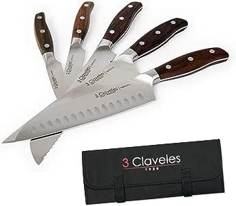 Compra 3 Claveles - Juego de 5 Cuchillos Profesionales en Acero Inoxidable Gama NORDEN, Selección Master Chef, Incluye Estuche en Amazon.es