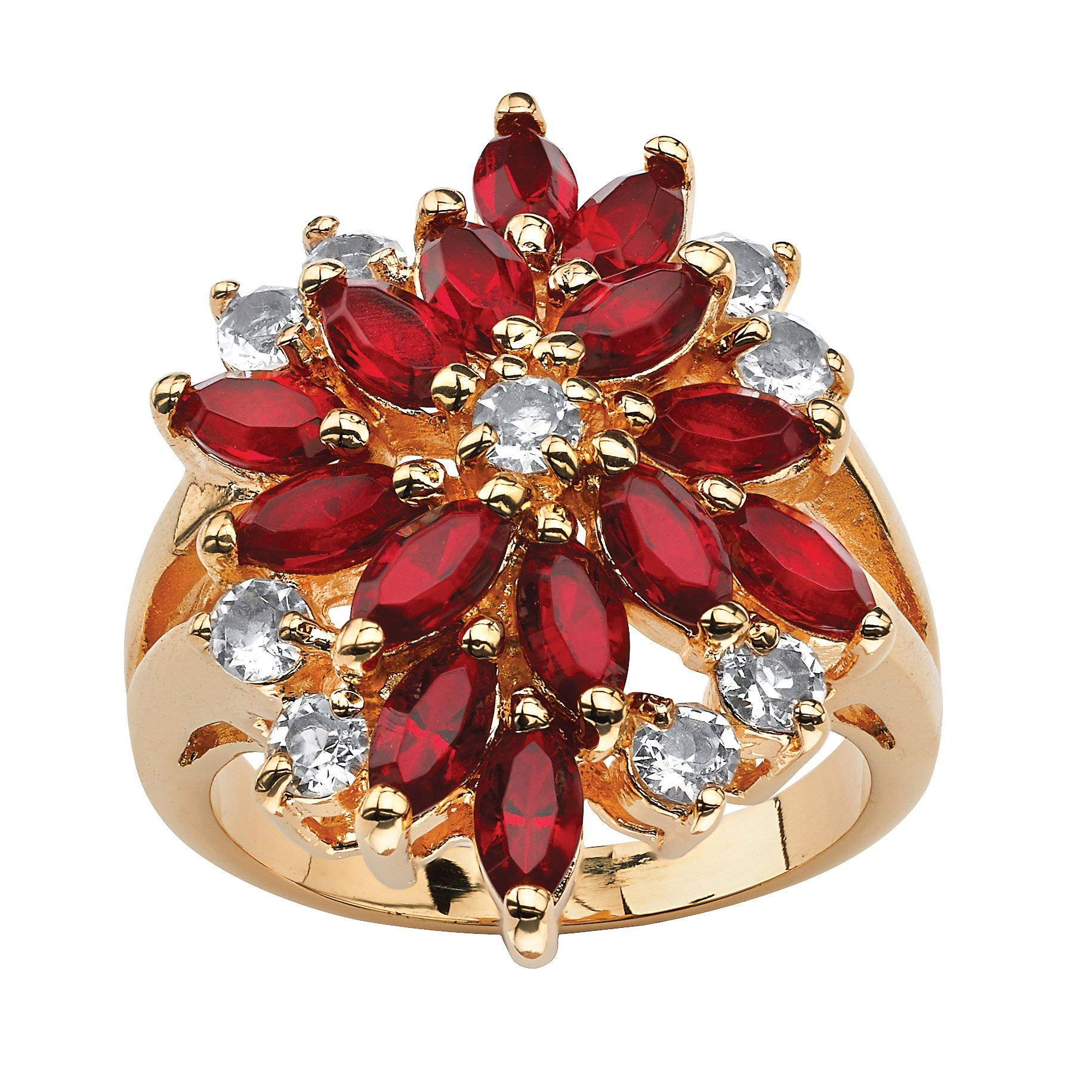 Palm Beach Jewelry 18K Gold-Plated Marquise Cut Red Floral Cluster Ring Made Swarovski Elements Size 5