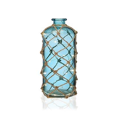 Versa 21210120 Botella Led Azul, 25,5x12x12cm, Cristal