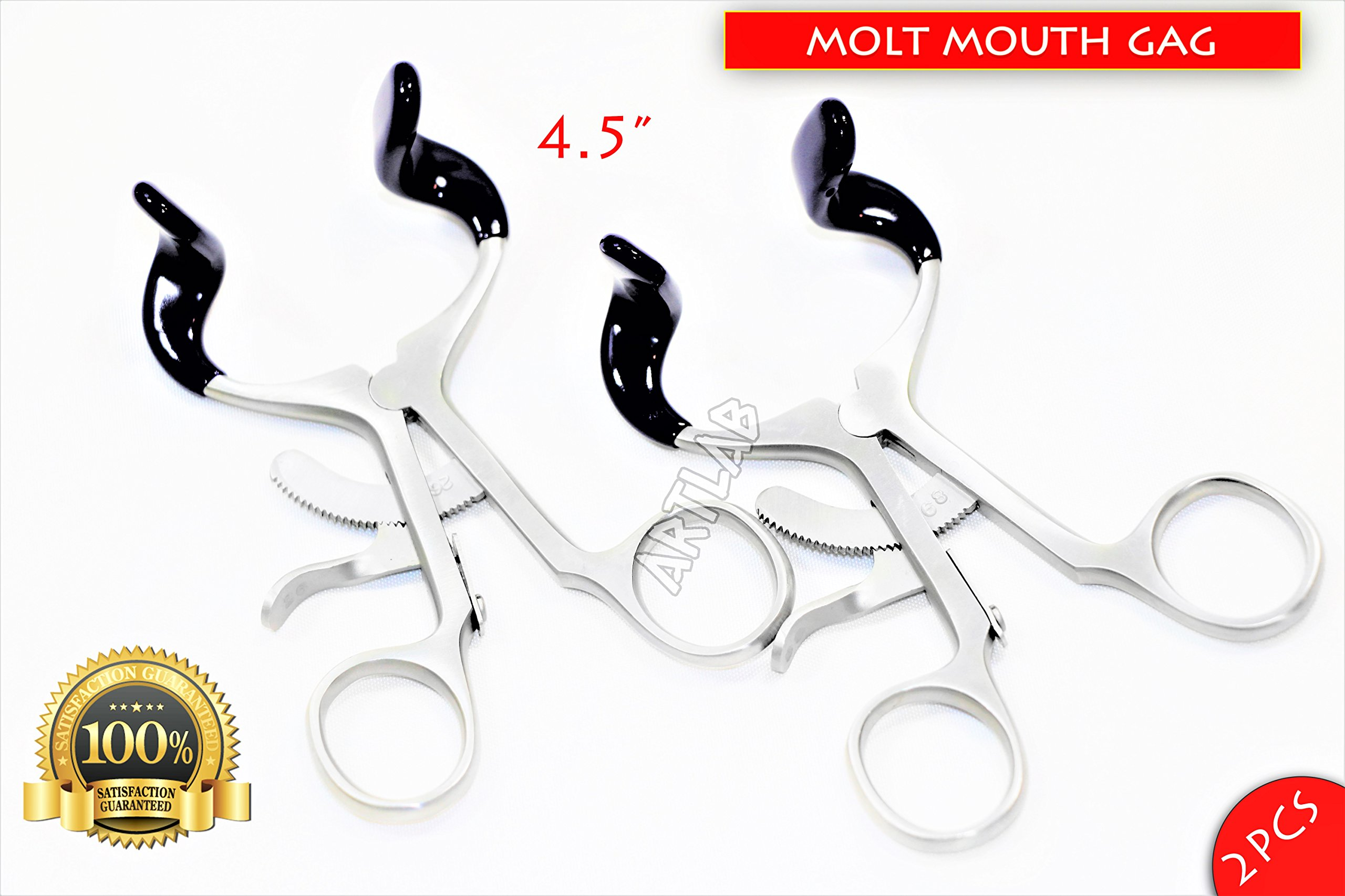 4.5'' Molt Dental Mouth Gag with Silicone Tips 2PCS Dental Orthodontic (CYNAMED)